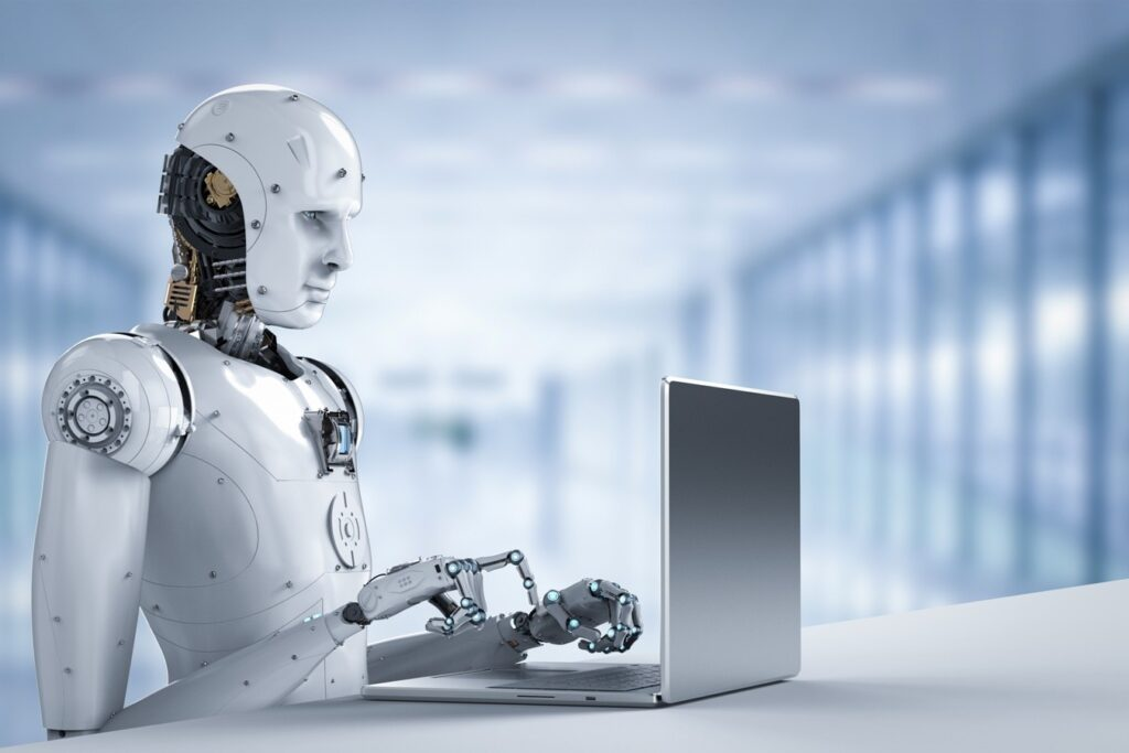 robot work on laptop