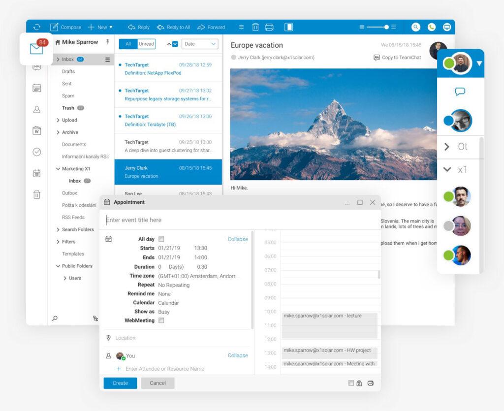 widok aplikacji icewarp - prywatnego serwera e-mail