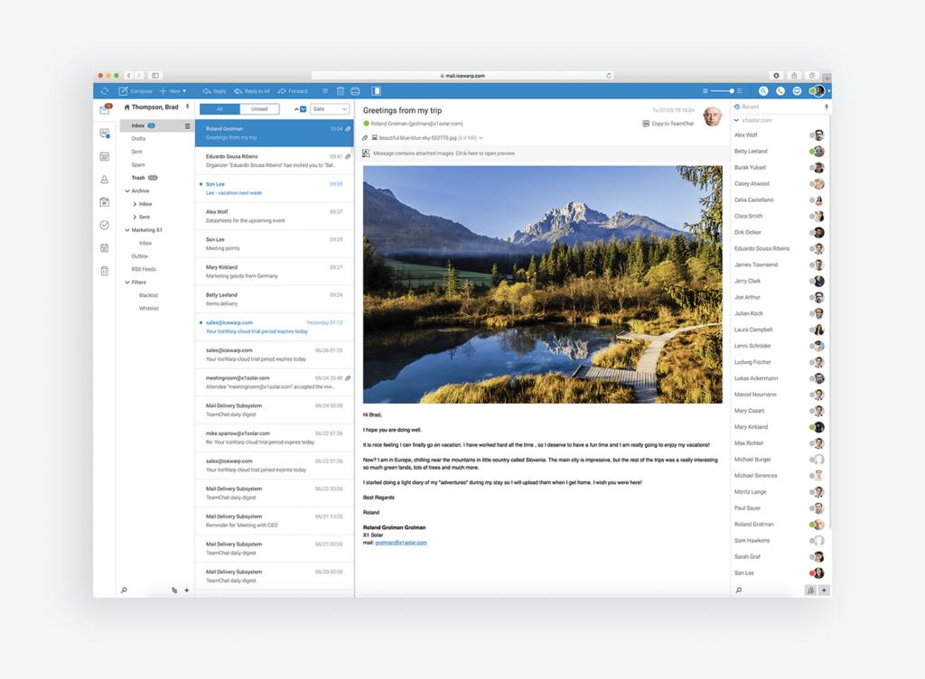 wygląd aplikacj e-mail icewarp
